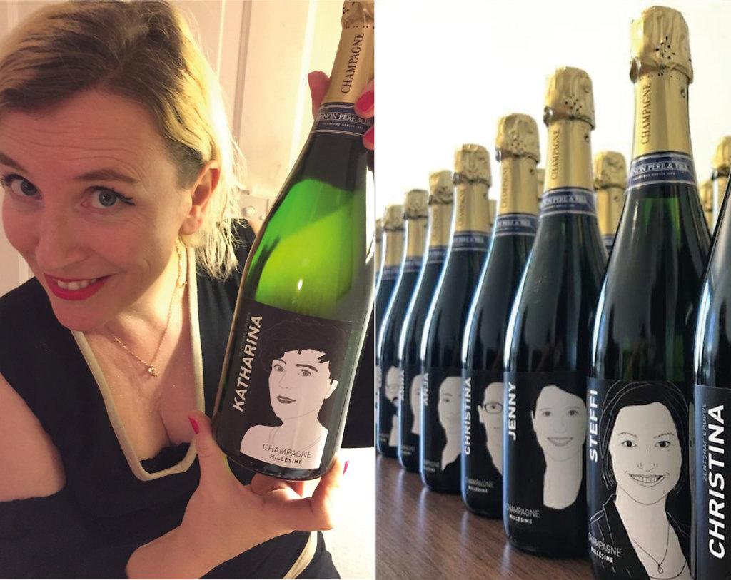 Individualisierter Champagner, Portrait-Illustrationen
